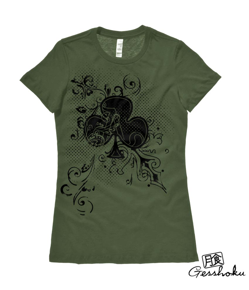 Ace of Clovers Ladies T-shirt - Olive Green
