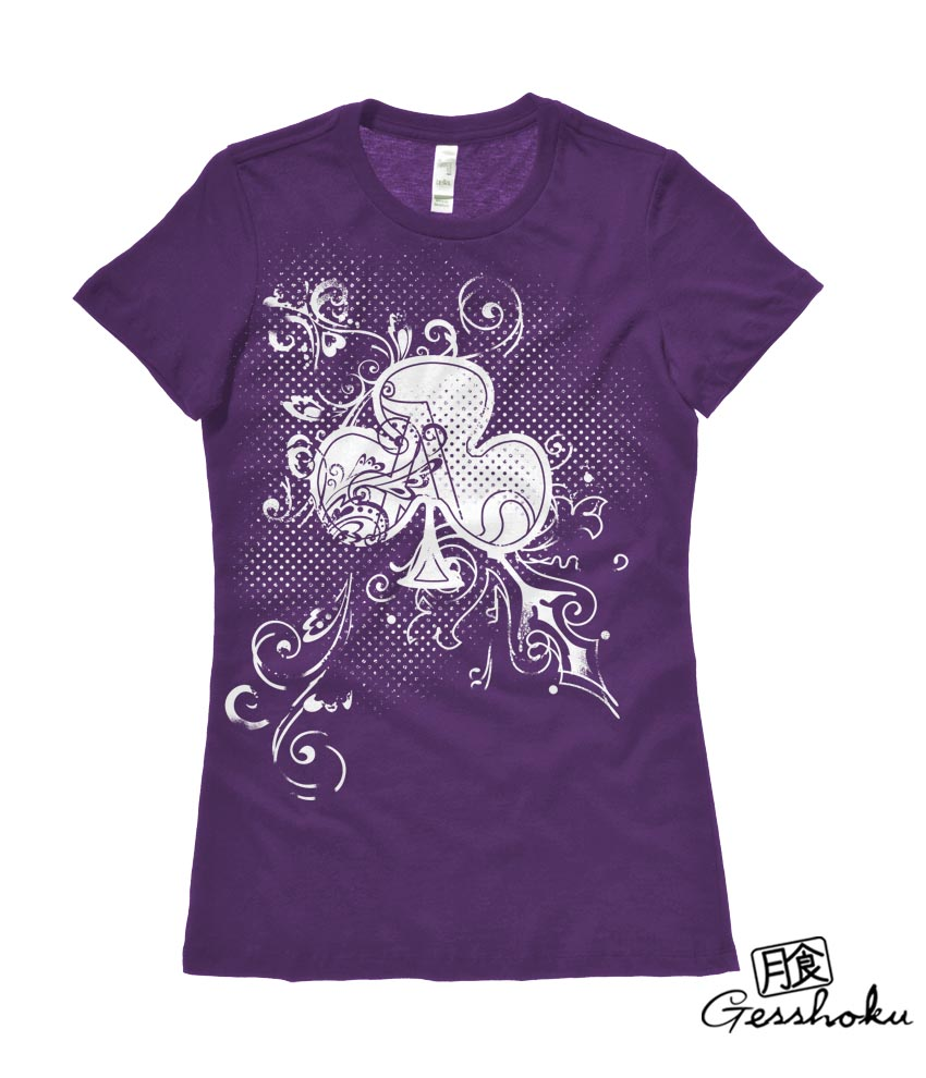 Ace of Clovers Ladies T-shirt - Purple
