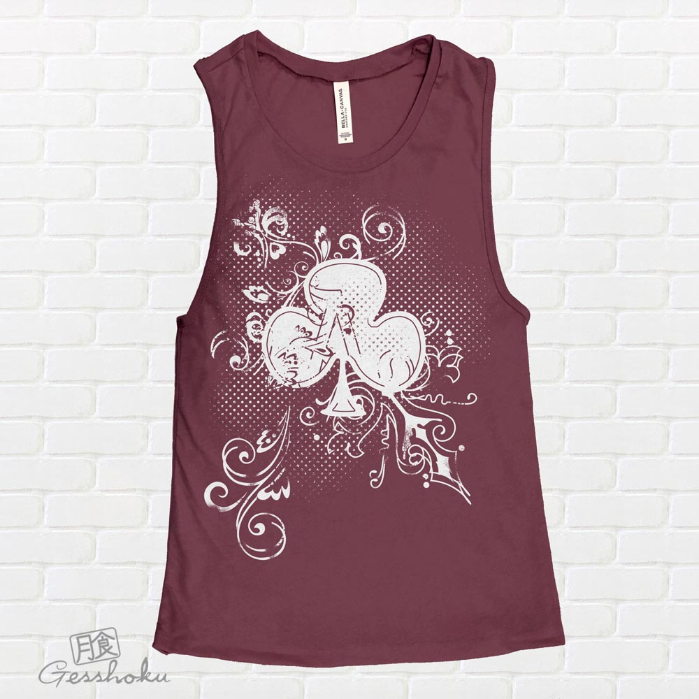 Ace of Clovers Sleeveless Tank Top - Maroon
