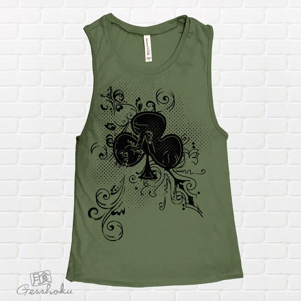 Ace of Clovers Sleeveless Tank Top - Olive Green