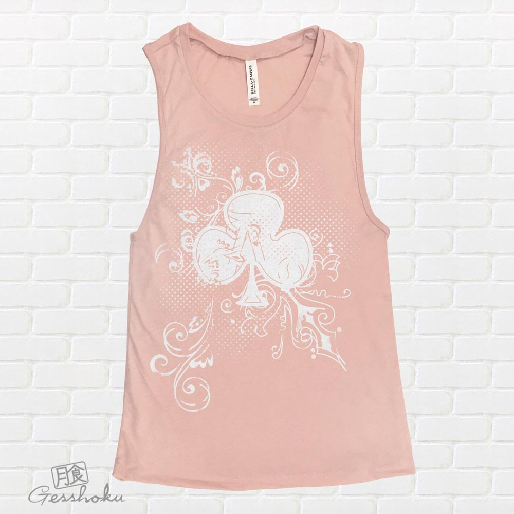 Ace of Clovers Sleeveless Tank Top - Peach