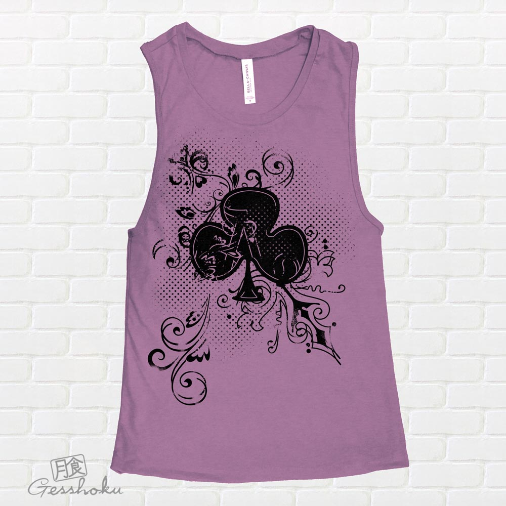 Ace of Clovers Sleeveless Tank Top - Purple