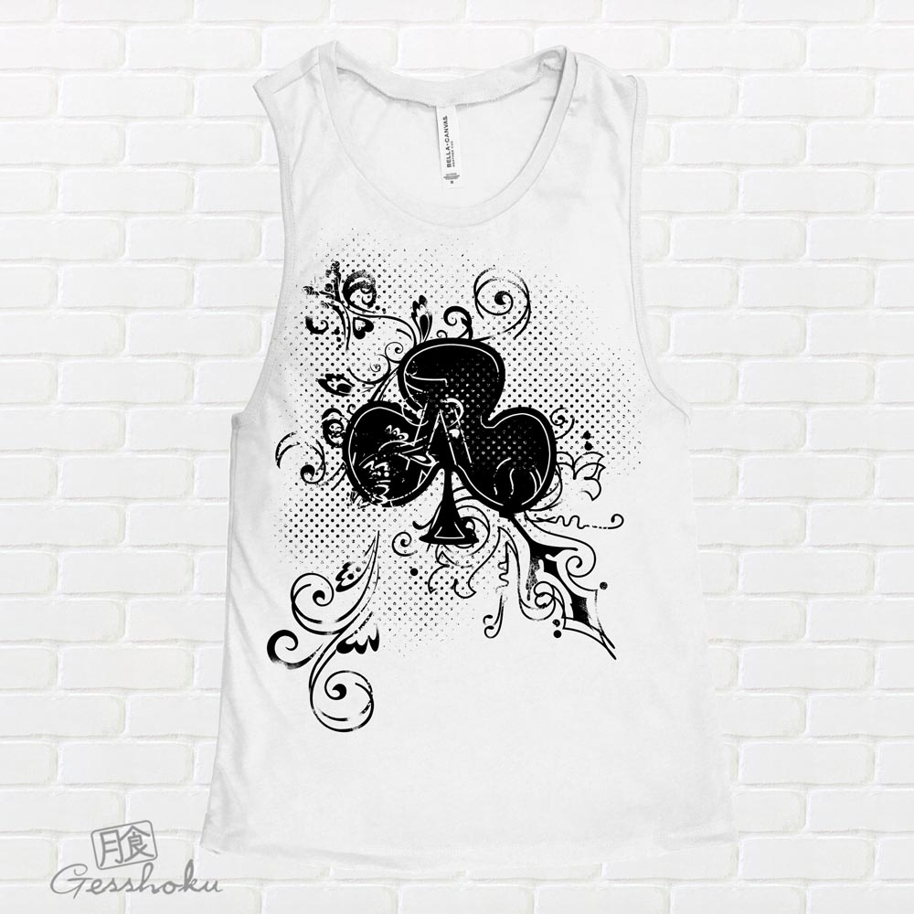 Ace of Clovers Sleeveless Tank Top - White