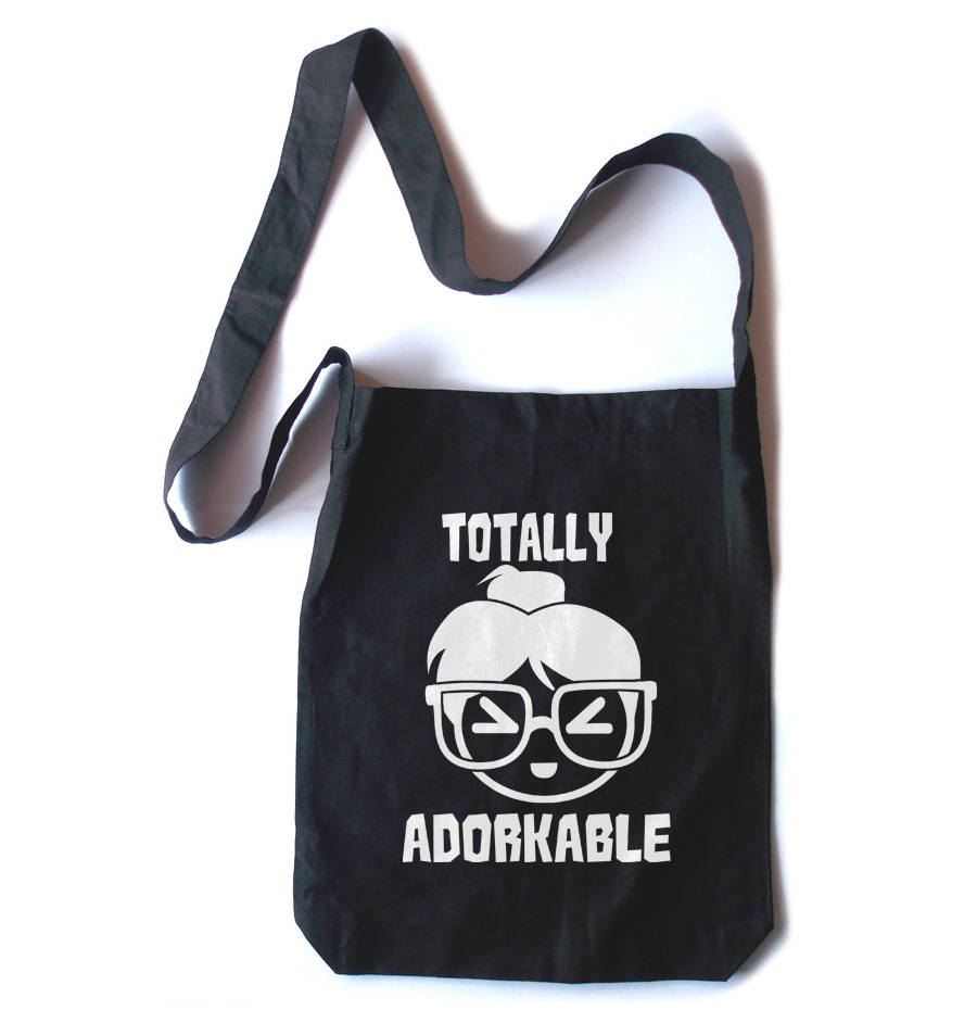 Totally Adorkable Crossbody Tote Bag - Black