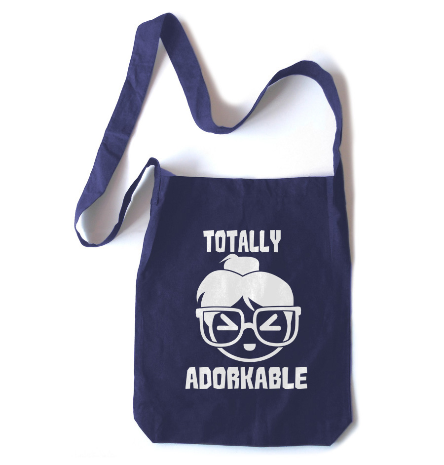 Totally Adorkable Crossbody Tote Bag - Navy Blue