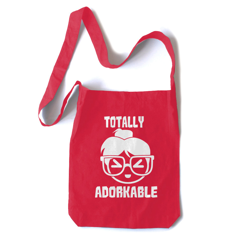 Totally Adorkable Crossbody Tote Bag - Red