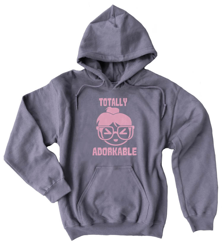 Totally Adorkable Pullover Hoodie - Charcoal Grey