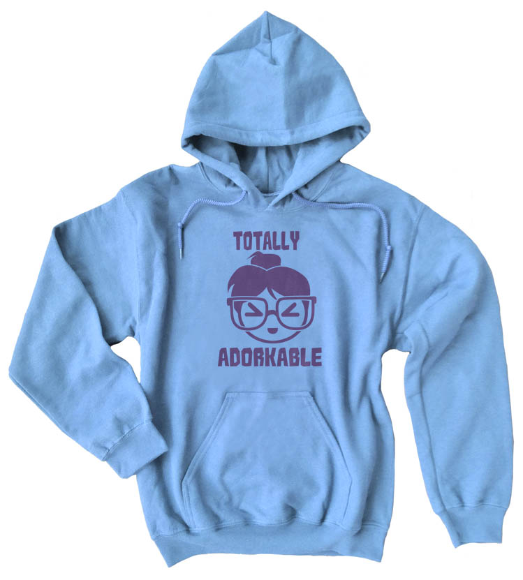 Totally Adorkable Pullover Hoodie - Light Blue