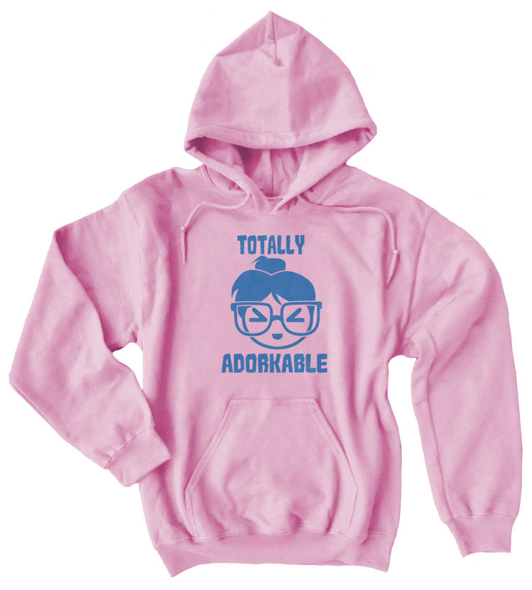 Totally Adorkable Pullover Hoodie - Light Pink