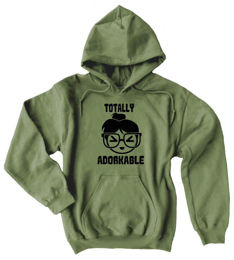 Totally Adorkable Pullover Hoodie - Olive Green