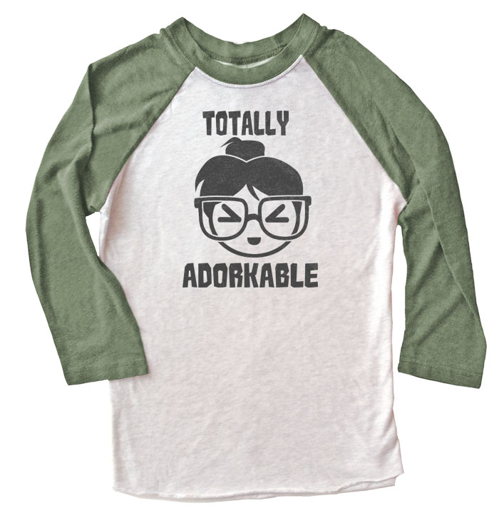 Totally Adorkable Raglan Long Sleeve T-shirt - Olive/White