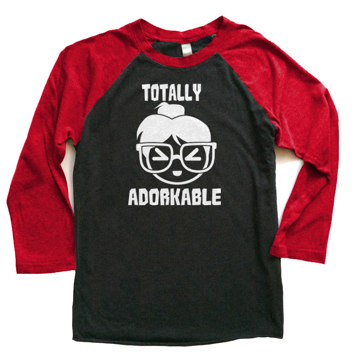 Totally Adorkable Raglan Long Sleeve T-shirt - Red/Black