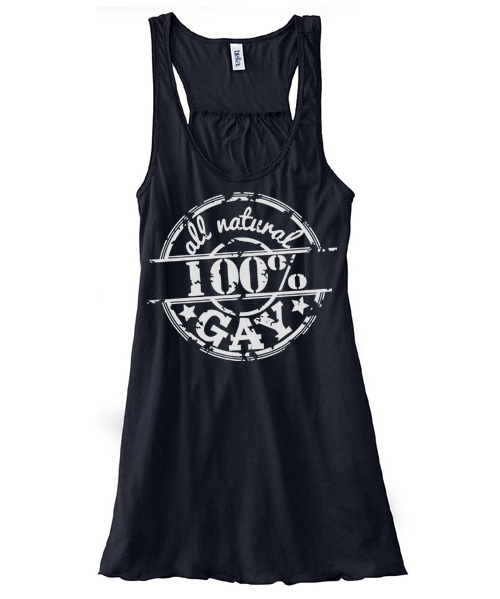 100% All Natural Gay Flowy Tank Top - Black