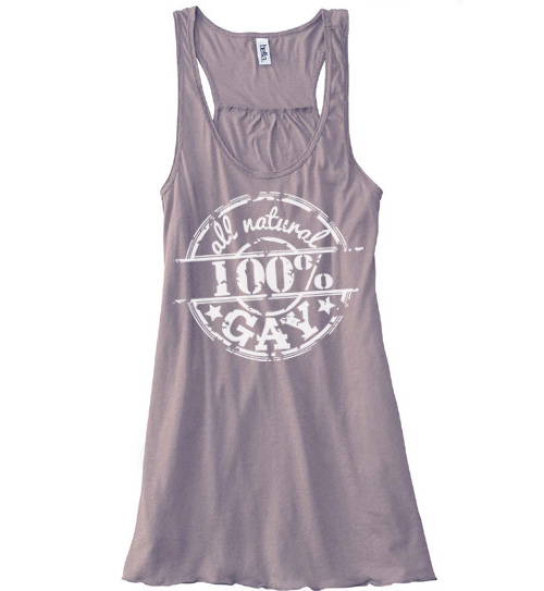 100% All Natural Gay Flowy Tank Top - Pebble Brown