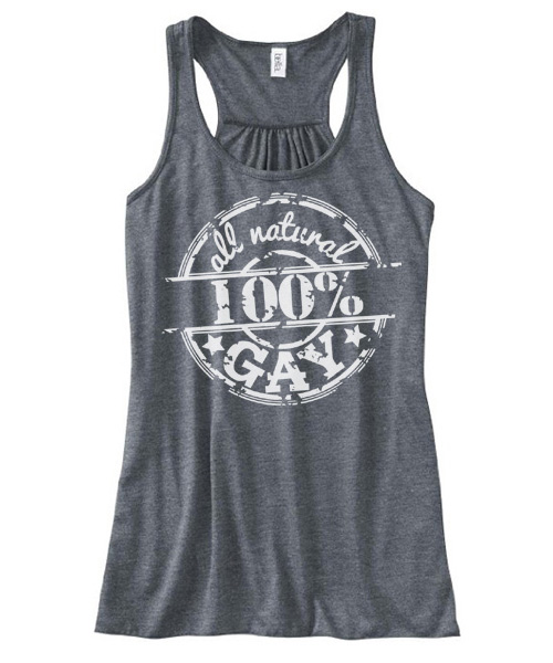 100% All Natural Gay Flowy Tank Top - Charcoal Grey