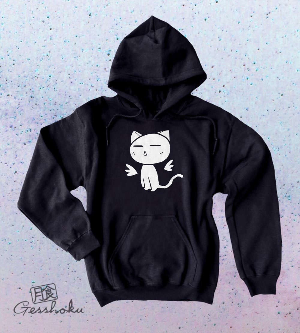 Angel Wings Kawaii Kitty Pullover Hoodie - Black