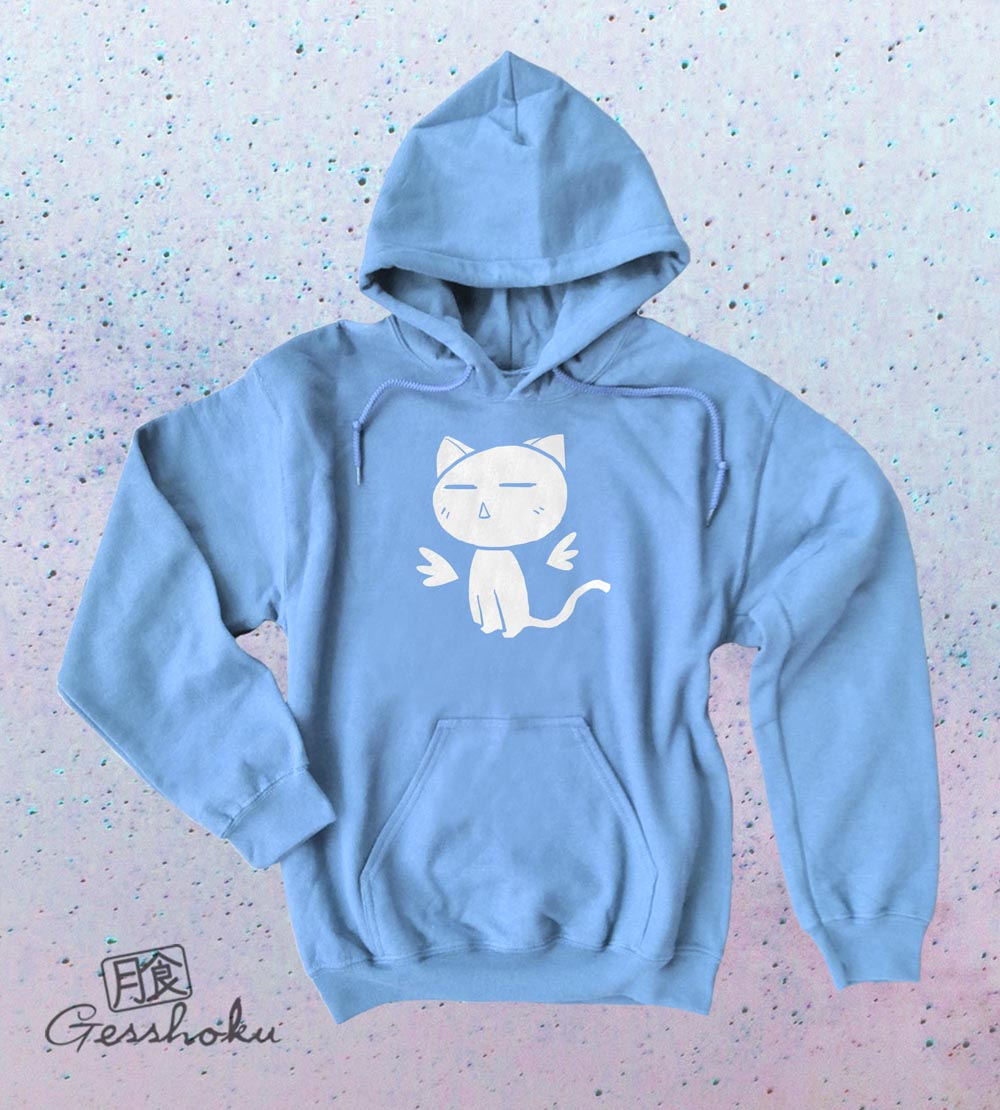 Angel Wings Kawaii Kitty Pullover Hoodie - Light Blue