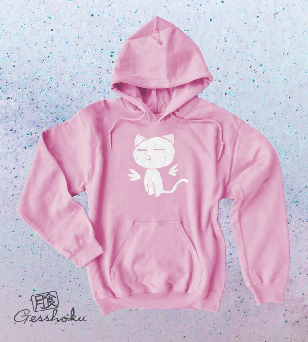 Angel Wings Kawaii Kitty Pullover Hoodie - Light Pink