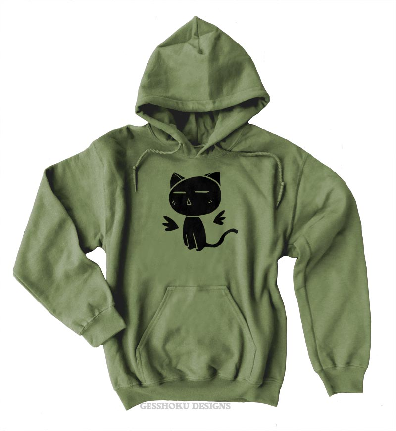Angel Wings Kawaii Kitty Pullover Hoodie - Khaki Green