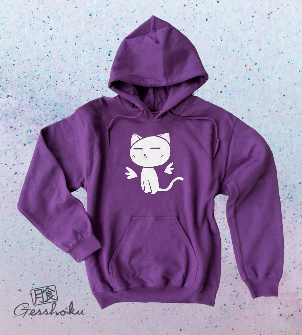 Angel Wings Kawaii Kitty Pullover Hoodie - Purple