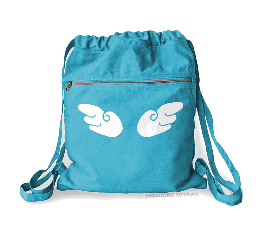 Angel Wings Cinch Backpack - Aqua Blue