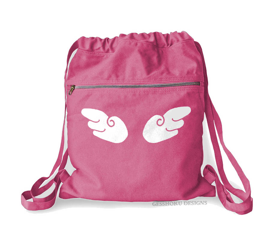 Angel Wings Cinch Backpack - Raspberry