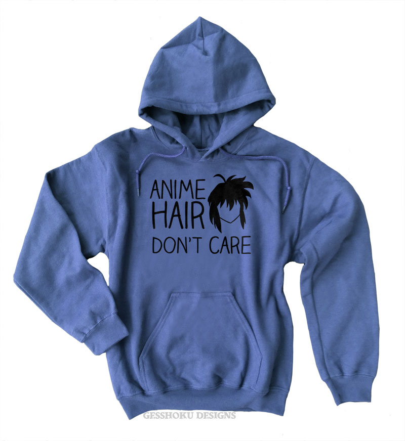 Anime Hair Don't Care Pullover Hoodie - Heather Blue