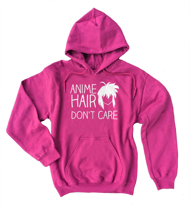 Anime Hair Don't Care Pullover Hoodie - Hot Pink