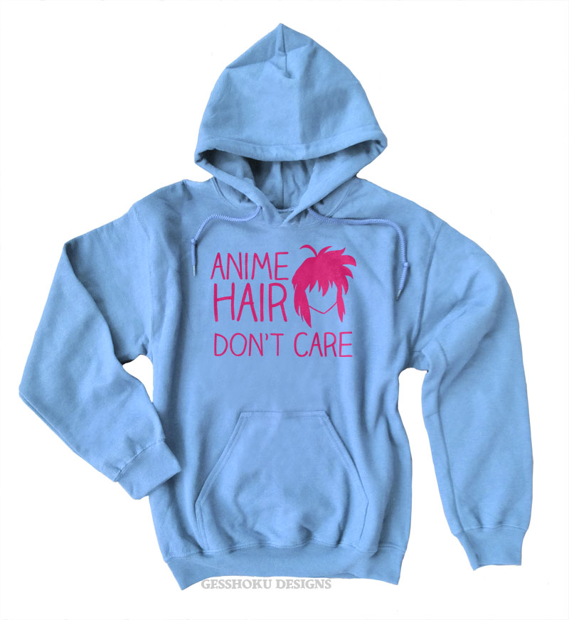 Anime Hair Don't Care Pullover Hoodie - Light Blue