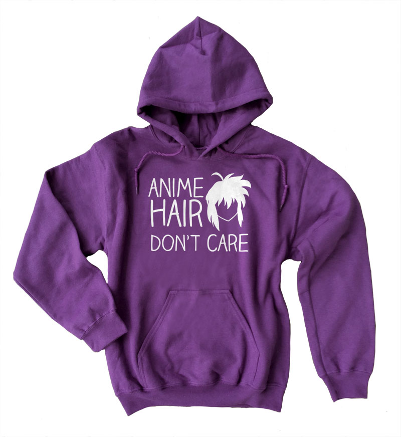 Anime Hair Don't Care Pullover Hoodie - Purple