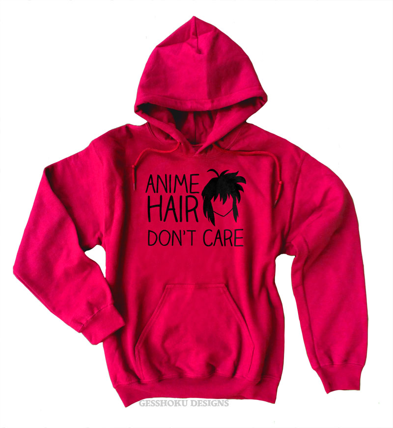 Anime Hair Don't Care Pullover Hoodie - Red