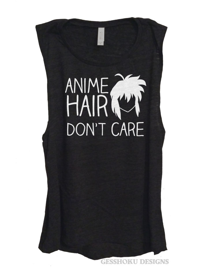 Anime Hair Don't Care Sleeveless Top - Black
