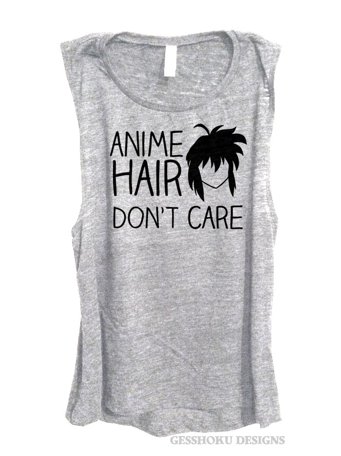 Anime Hair Don't Care Sleeveless Top - Light Grey