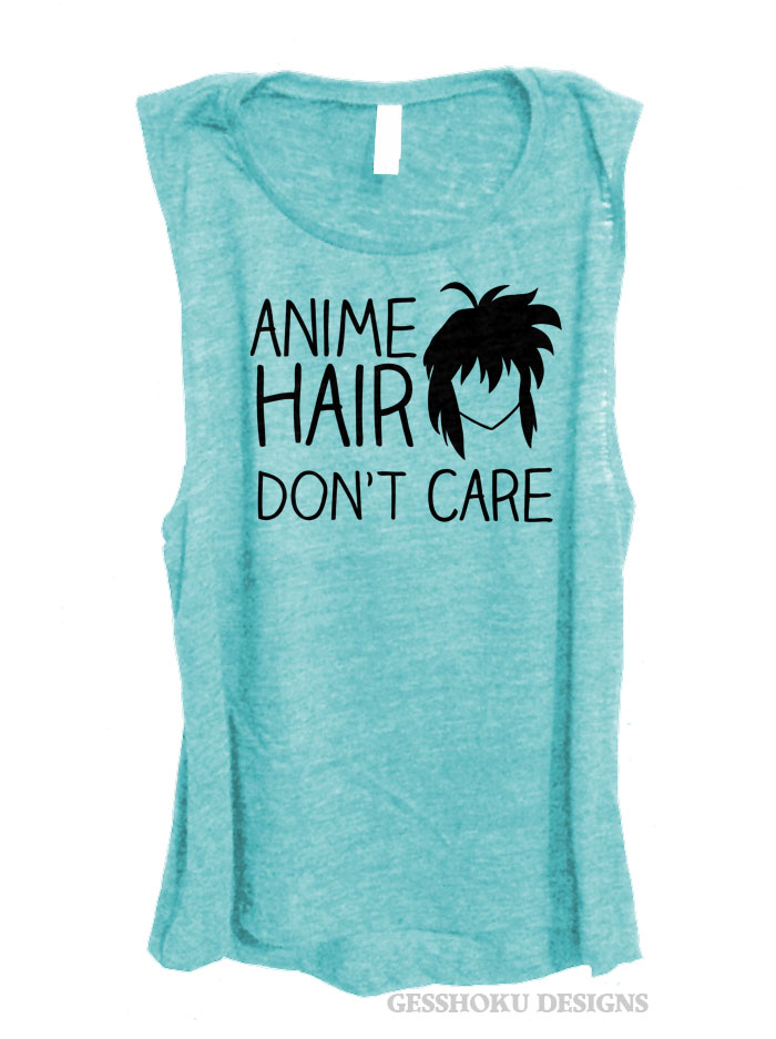 Anime Hair Don't Care Sleeveless Top - Light Teal