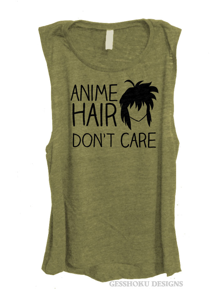 Anime Hair Don't Care Sleeveless Top - Olive Green