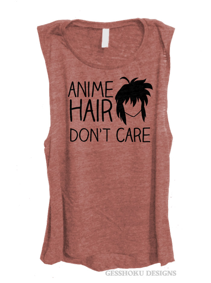 Anime Hair Don't Care Sleeveless Top - Rose Wine