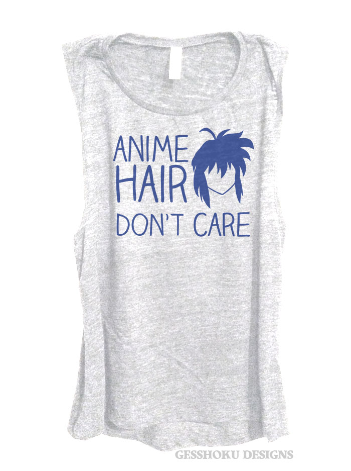 Anime Hair Don't Care Sleeveless Top - Heather White