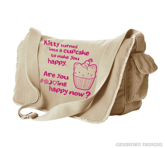 Kitty Turned into a Cupcake Messenger Bag - Natural