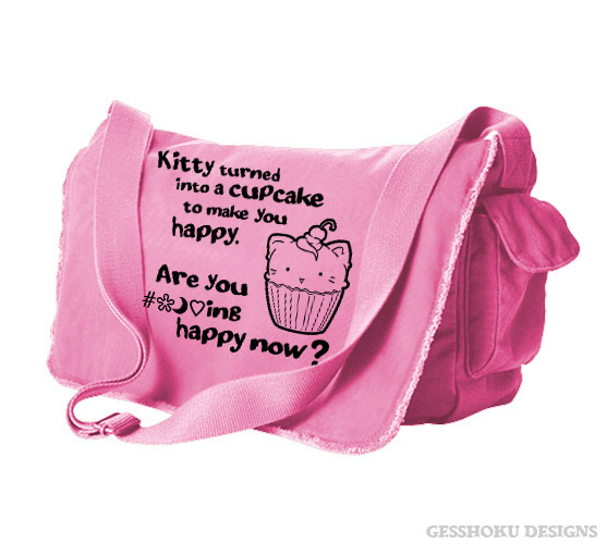 Kitty Turned into a Cupcake Messenger Bag - Pink