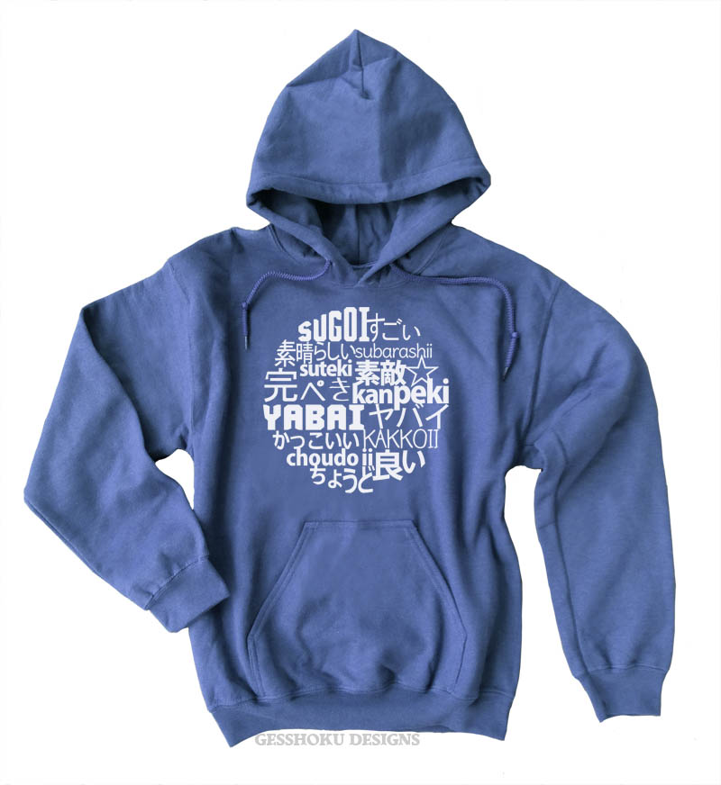 7 Times Awesome in Japanese Pullover Hoodie - Stone Blue