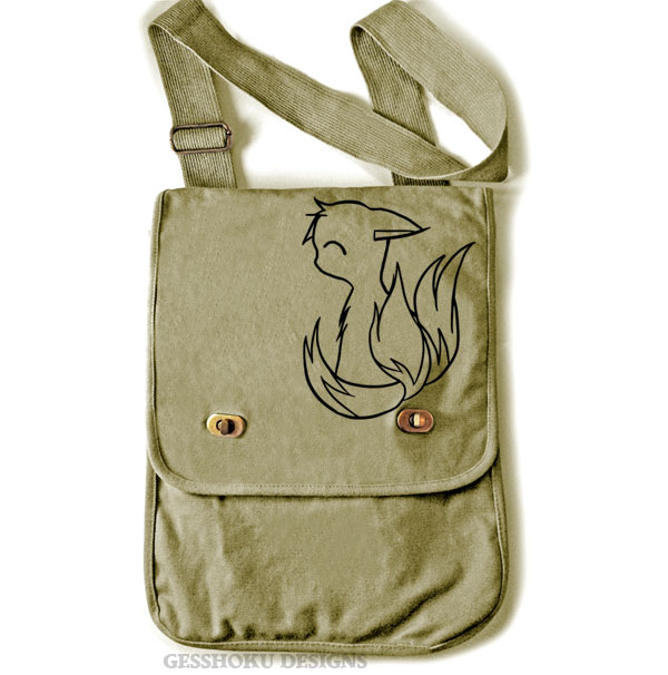 3-Tailed Baby Kitsune Field Bag - Khaki Green