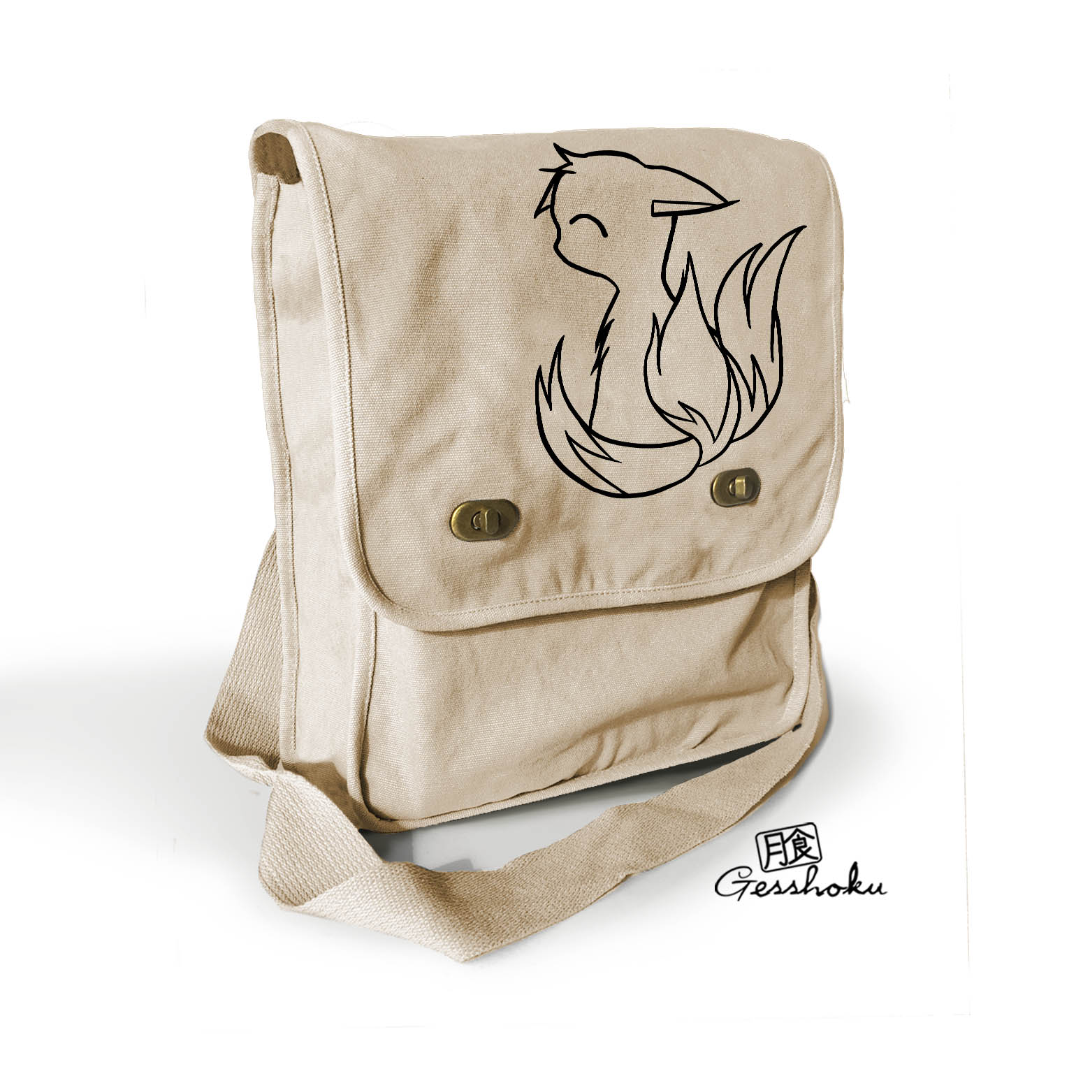 3-Tailed Baby Kitsune Field Bag - Natural