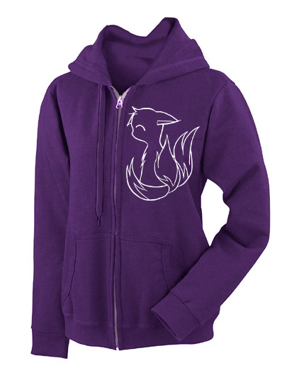 3-tailed Baby Kitsune Fashion Fit Hoodie - Purple