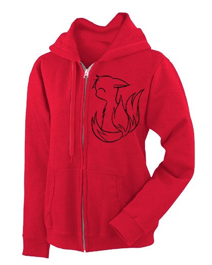 3-tailed Baby Kitsune Fashion Fit Hoodie - Red