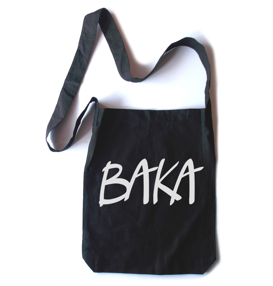 Baka (text) Crossbody Tote Bag - Black