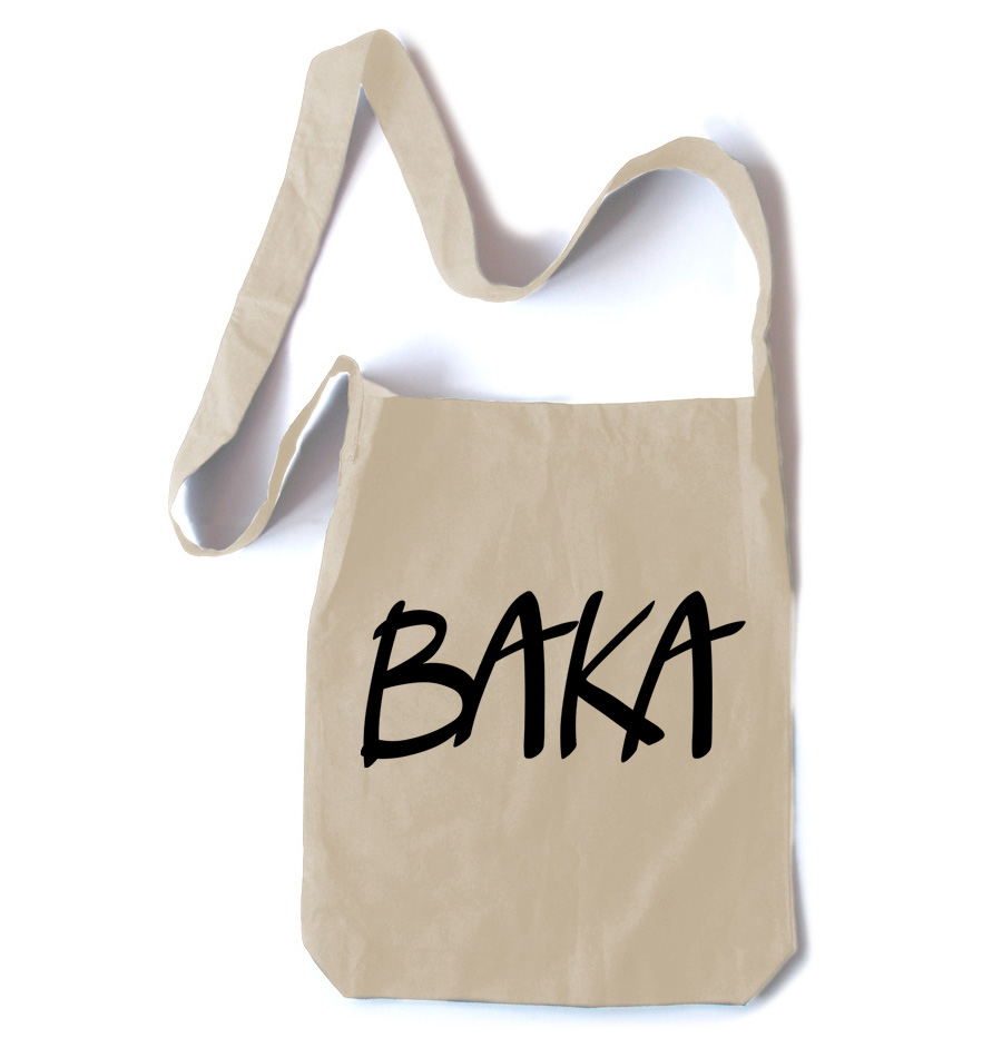 Baka (text) Crossbody Tote Bag - Natural