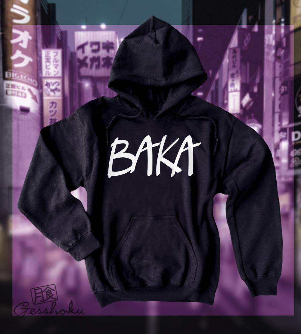 Baka (text) Pullover Hoodie - Black
