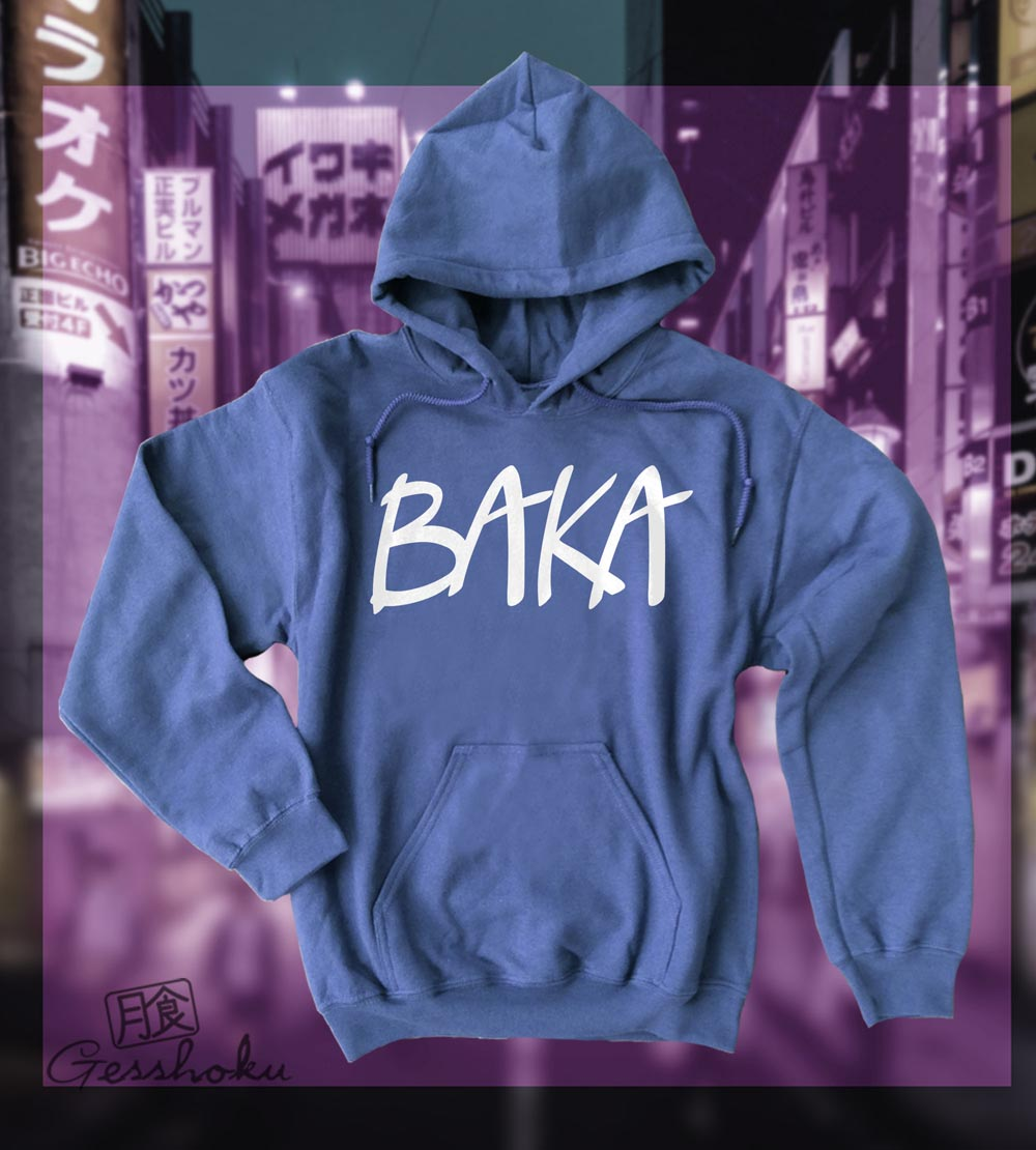 Baka (text) Pullover Hoodie - Heather Blue