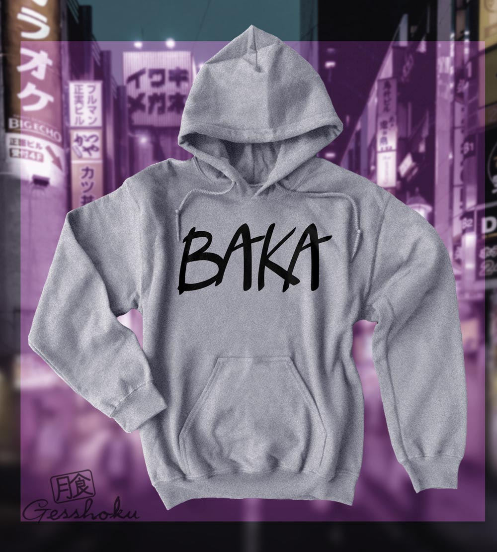 Baka (text) Pullover Hoodie - Light Grey