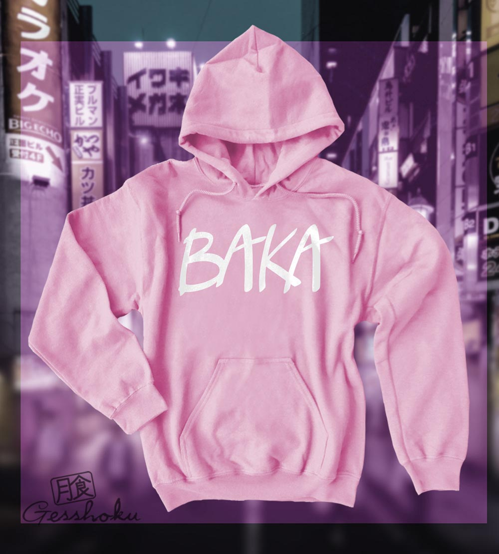 Baka (text) Pullover Hoodie - Light Pink
